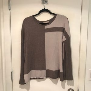 Joan Vass tan/Cream block colored sweater